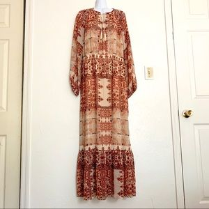 Cream Brown Long Sleeve Poly Maxi Peasant Dress